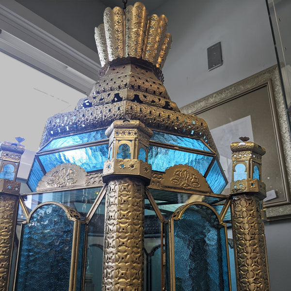 Handcrafted aquamarine blue and gold Spanish lamp view of top