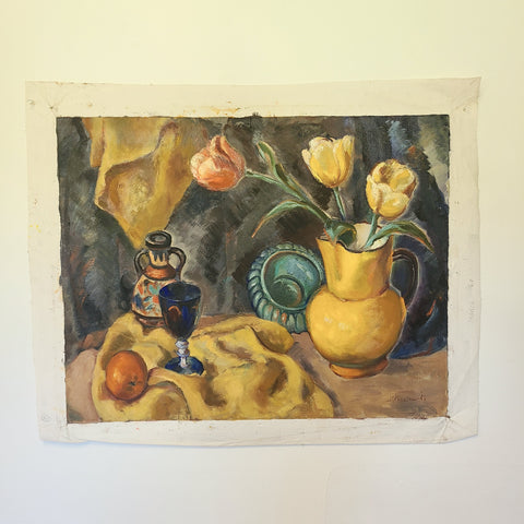 vintage oil painting of able with yellow cloth, yellow vase with tulips. wine glass and wine bottle