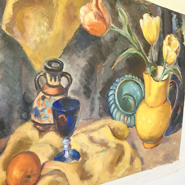 vintage oil painting close up of wine glass, wine bottle, yellow cloth and vase