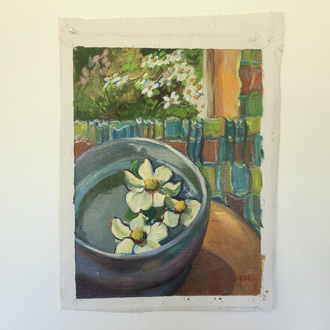 Oil painting of flowers floating in a blue pot with more flowers in background