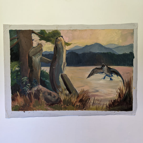 Oil painting of bird flying above lake with trees in the distance