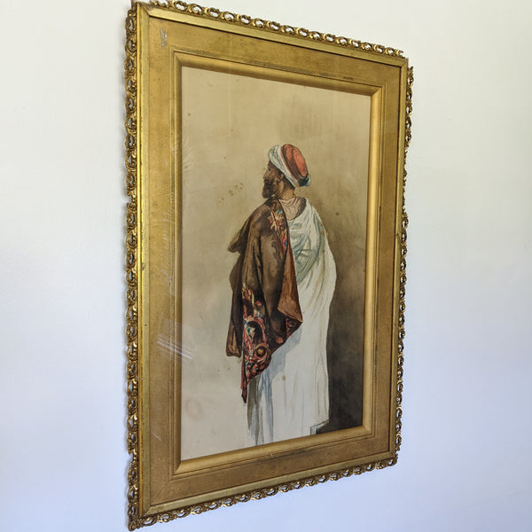 Water color painting of Arabic man with his back towards viewer. Side view