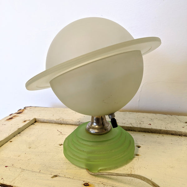 Saturn glass lamp with switch on back