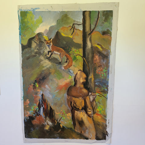 Oil painting of a monk and a fox in the woods