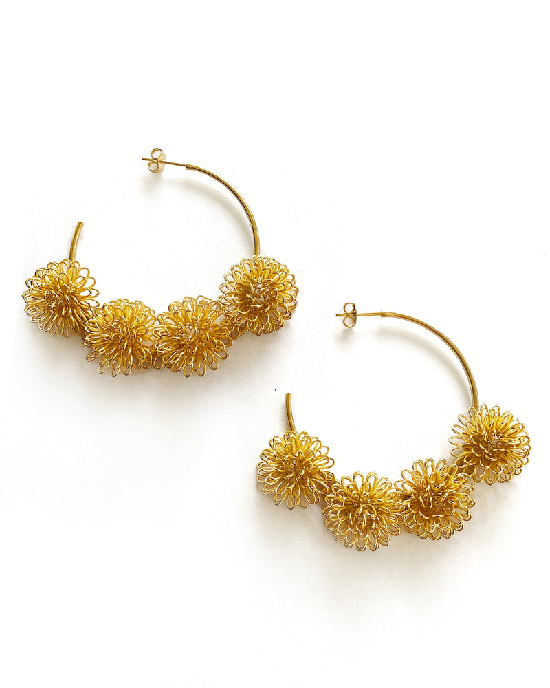 Load image into Gallery viewer, Pompom Loop Earrings