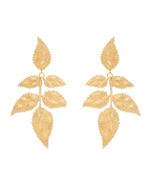 Pat's Golden Leaf Clip Earrings