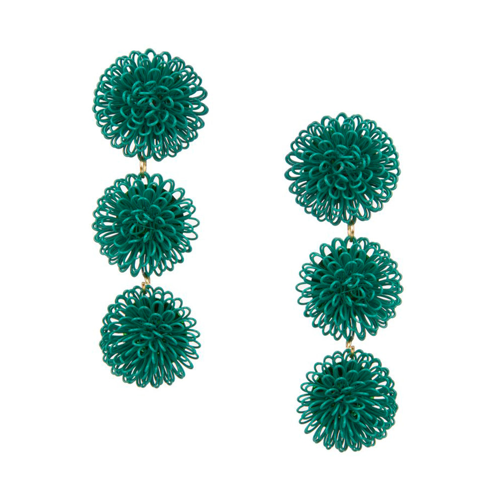 Pompom Earrings - Green