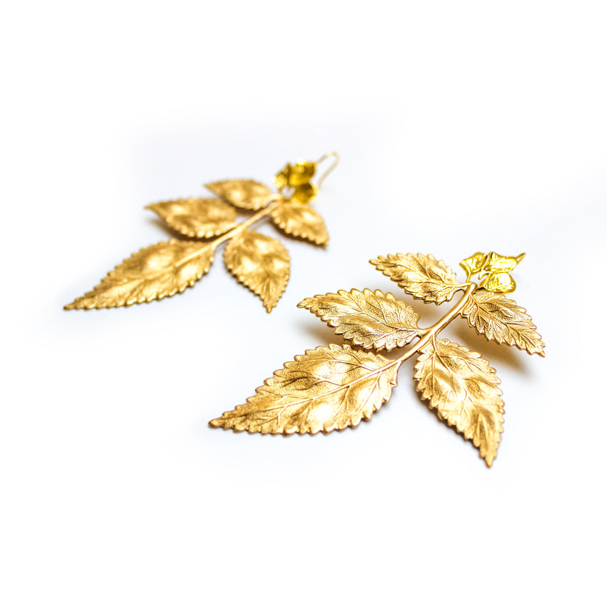Load image into Gallery viewer, Pat's Golden Leaf Earrings