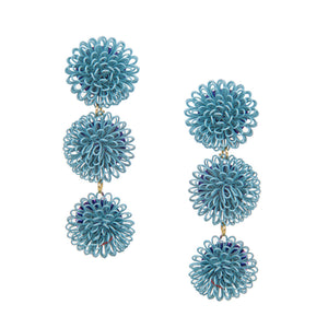 Load image into Gallery viewer, Pompom Earrings - Light Blue