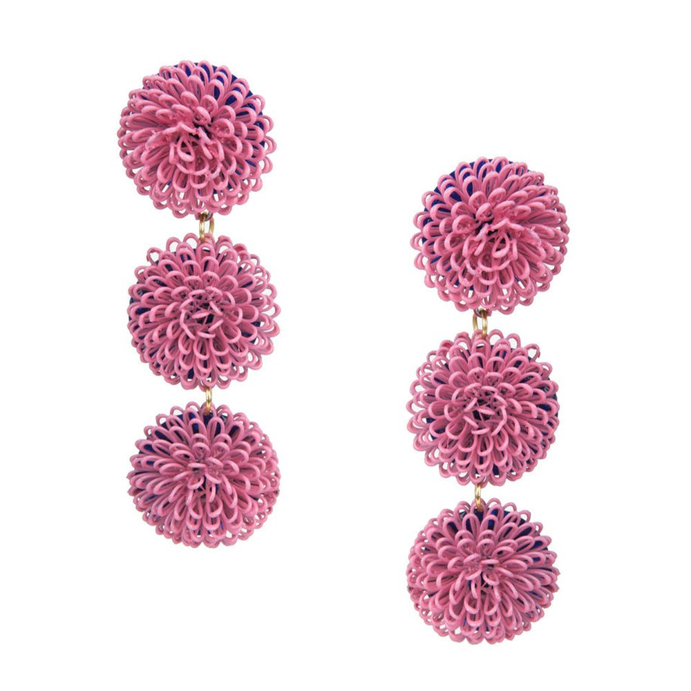 Pink Pompom Earrings