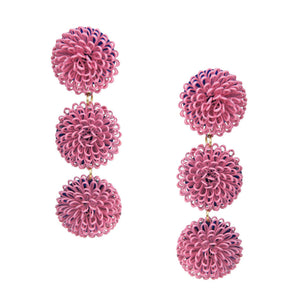 Load image into Gallery viewer, Pink Pompom Earrings