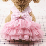 Peach Blossom Plaid Bow Knot Striped Dog Dress Summer Pink Flower Pet Clothes for Small Chihuahua Cat Tulle XS-2XL