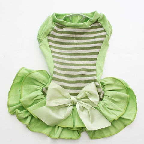 Dog Pet Dress Tracksuit Striped&Bow Dress Home Shirt Cat Puppy Skirt Vest Summer Clothes Apperal