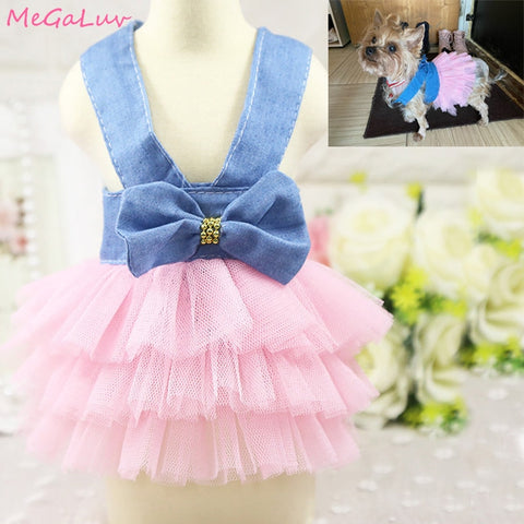 Puppy Costume Sling Dog Dress Summer Pet Dog Clothes Sweetly Princess Teddy Party Birthday Wedding Bow knot Dress For Small Dog