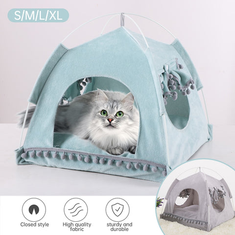 Pet Bed For Cats Dogs Soft Nest Kennel Bed Cave House Sleeping Bag Mat Pad Tent Pets Winter Warm Cozy Beds S_XL 2 Colors #3