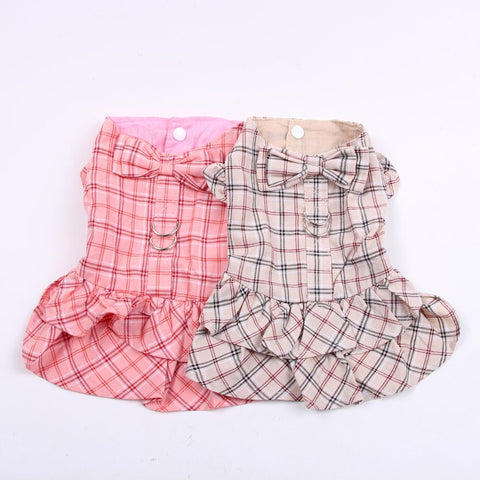 New Dog Cat Dress Shirt Plaid&Bow with Matching Dog Leash Pet Puppy Skirt  Spring/Summer clothes apparel 5 sizes