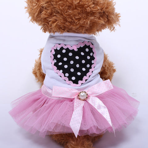 Dog Cat Princess Dress Tutu Love Ribbon Design Pet Puppy Shirt Skirt Clothes Apparel 3 Colours 5 sizes