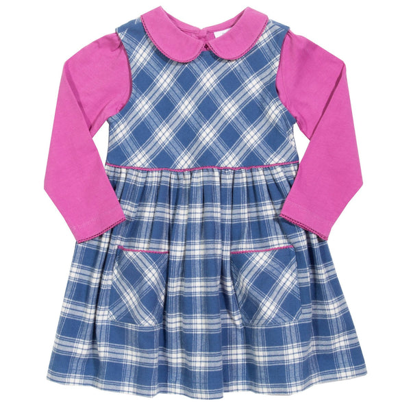 Kite Plaid Dress and Peter pan Collar Set