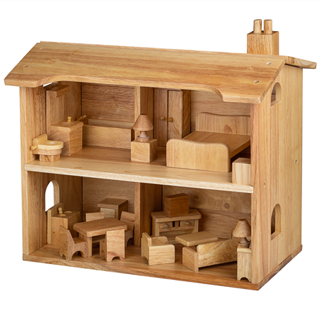 Bigjigs Natural Wooden Dolls House - Furnished