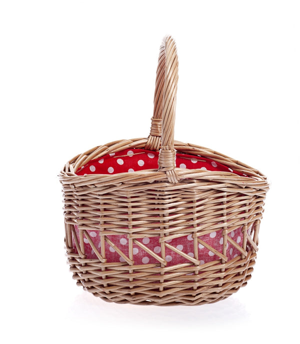Egmont Toys Small Wicker Basket - Red with white dots