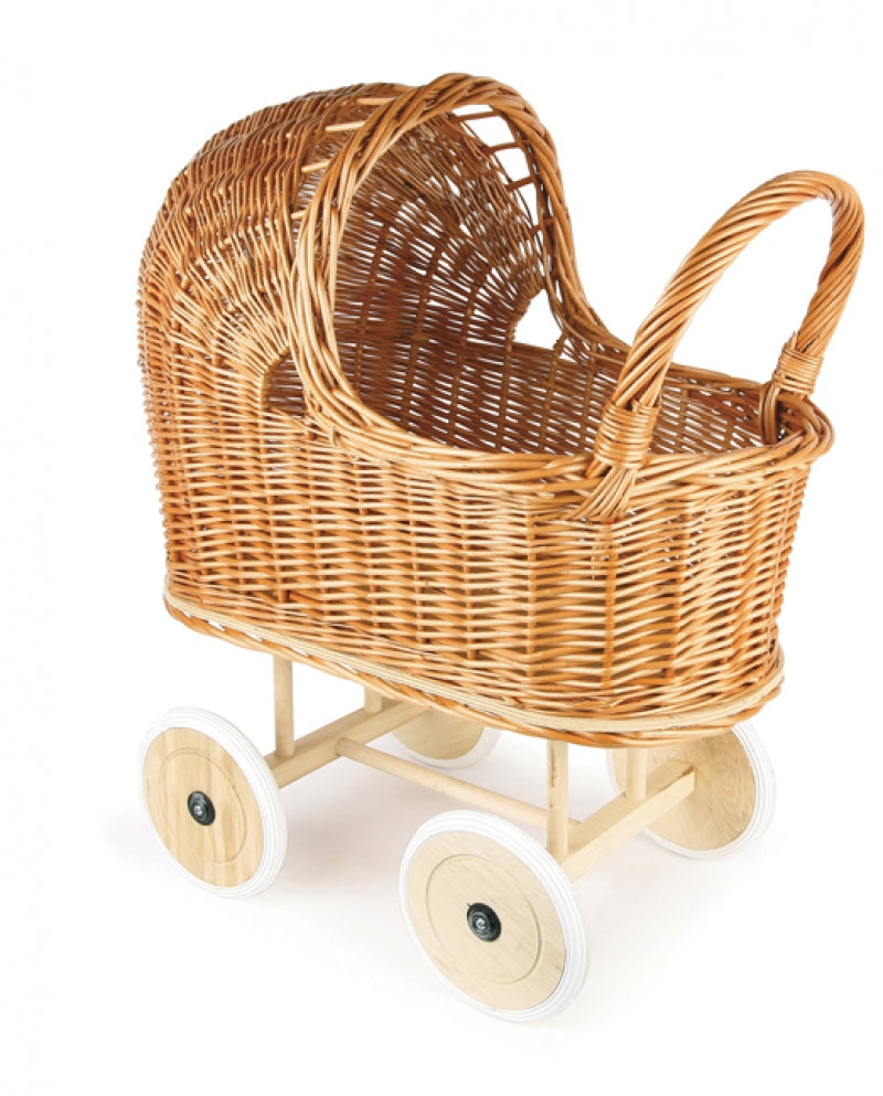 Egmont Pram Wicker Rubber Wheels + Bedding