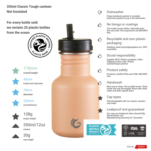350ml One Green Bottle Tough Canteen - Shark Fin
