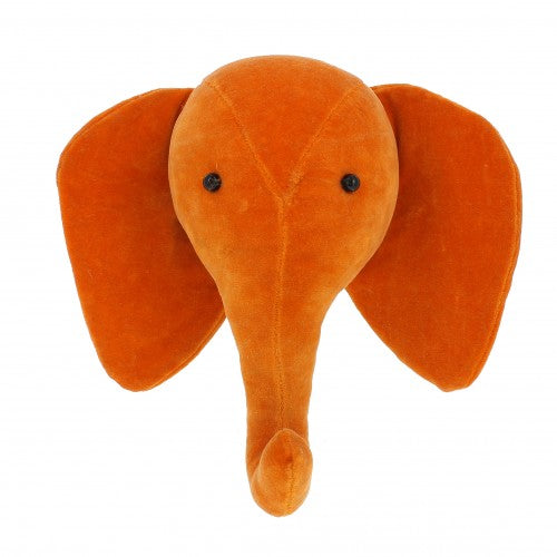 Fiona Walker Mini Velvet Elephant Head - Orange