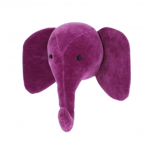 Fiona Walker Mini Velvet Elephant Head - Fuchsia