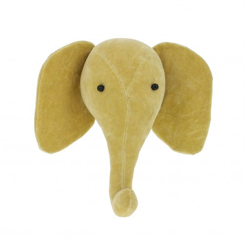 Fiona Walker Mini Velvet Elephant Head - Yellow