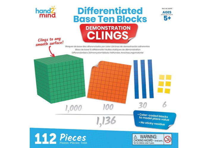 Leaning Resources Differentiated Base Ten Blocks Demonstration Clings