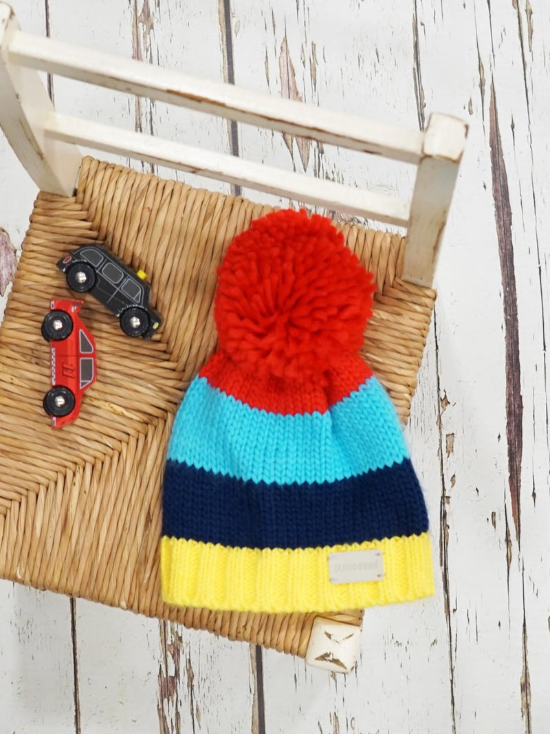 Blade and Rose Bright Stripe Bobble Hat