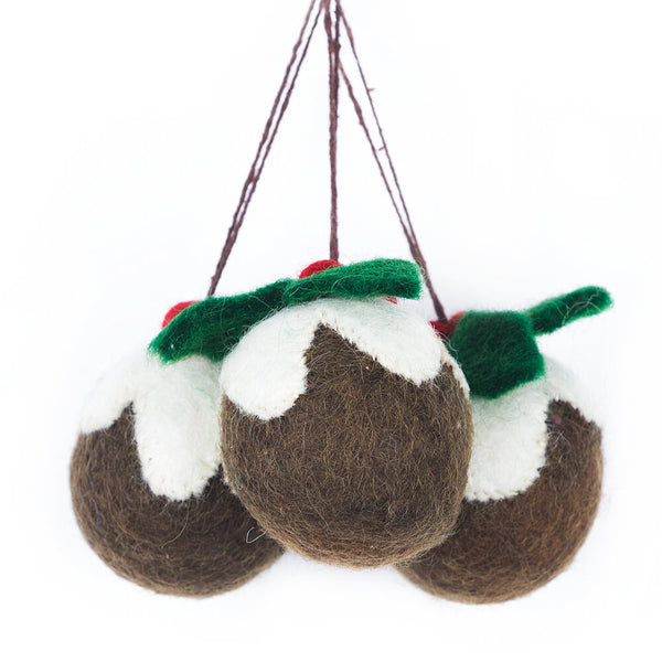 Christmas Pudding Hanging Decorations (3 Pack)