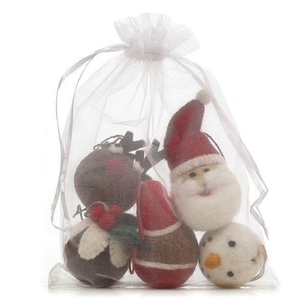 Christmas Character Baubles (Bag Of 5)