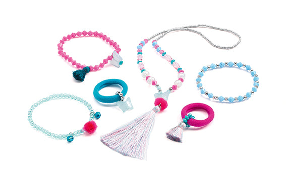 Djeco Hair Jewels and Jewellery- pompoms and butterflies