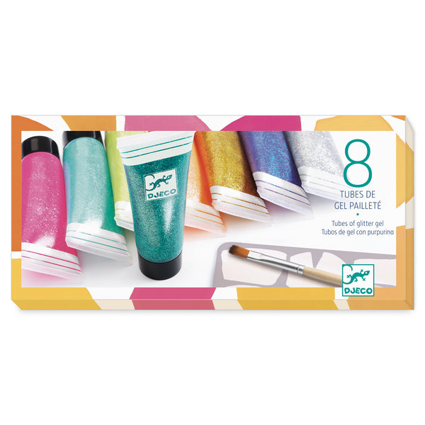 Djeco 8 tubes of glitter gel