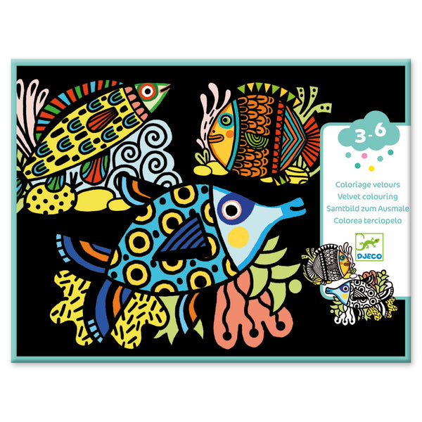 Djeco Velvet Colouring - Pretty Fish