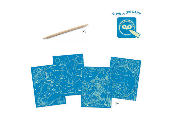Djeco Glow In The Dark Scratch Cards - Sea Life