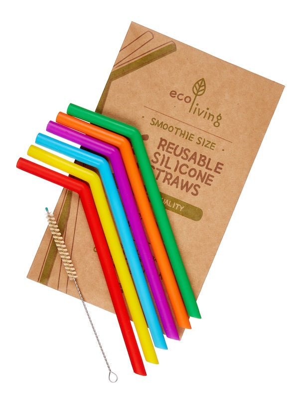 6 Colourful Silicone Smoothie (Wide) Straws & Brush