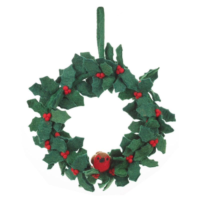 Large Holly Wreath With Robin