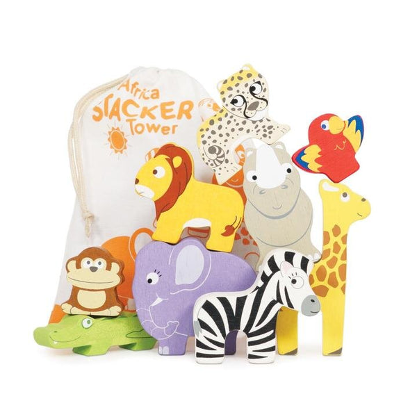 Le Toy Van Africa Stacking Animals & Cotton Bag