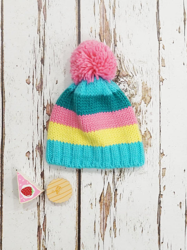 Blade and Rose Pastel Striped Bobble Hat