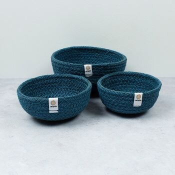 Respiin Jute Mini Bowls - Denim