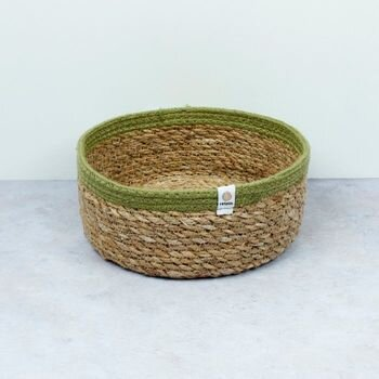 Respiin Seagrass/Jute Basket Medium- Green