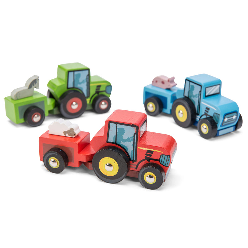 little mini wooden tractor and trailer