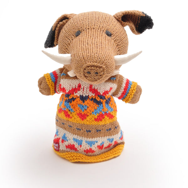 Chunki Chilli Wild Boar Hand Puppet in Organic Cotton