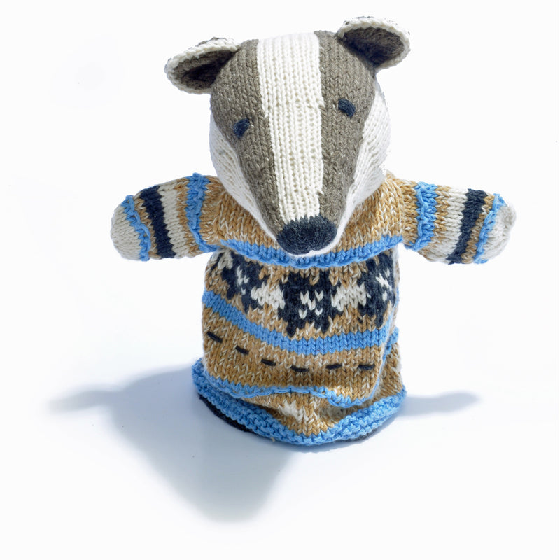 Chunki Chilli Badger Hand Puppet in Organic Cotton