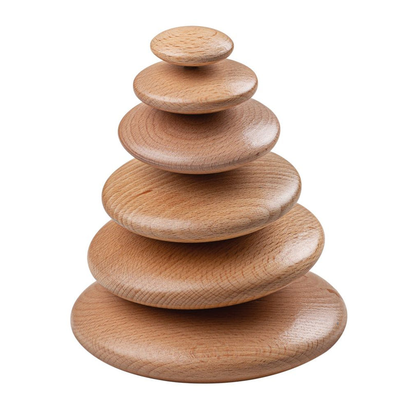 natural wooden stacking pebbles