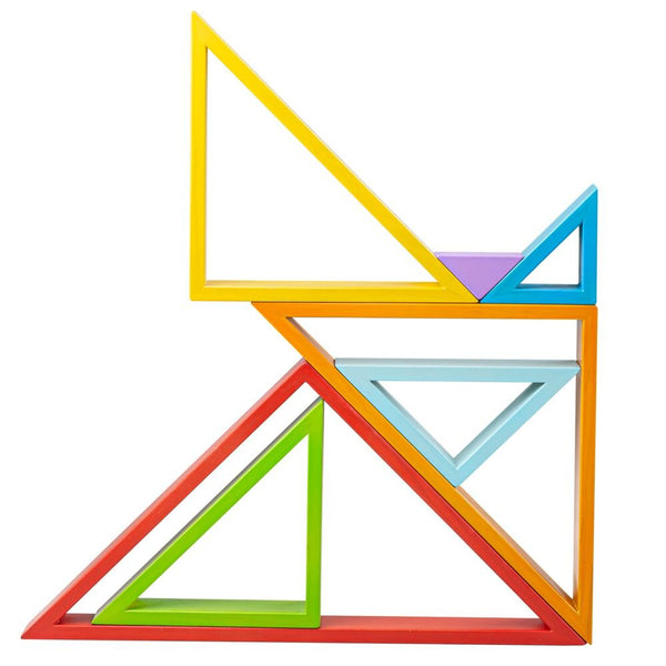 bigjigs rainbow wooden stacking triangles