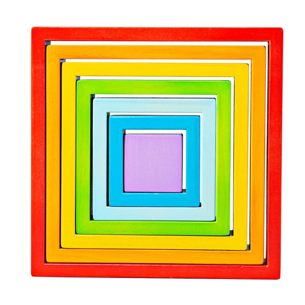 Bigjigs Wooden Stacking Rainbow Squares