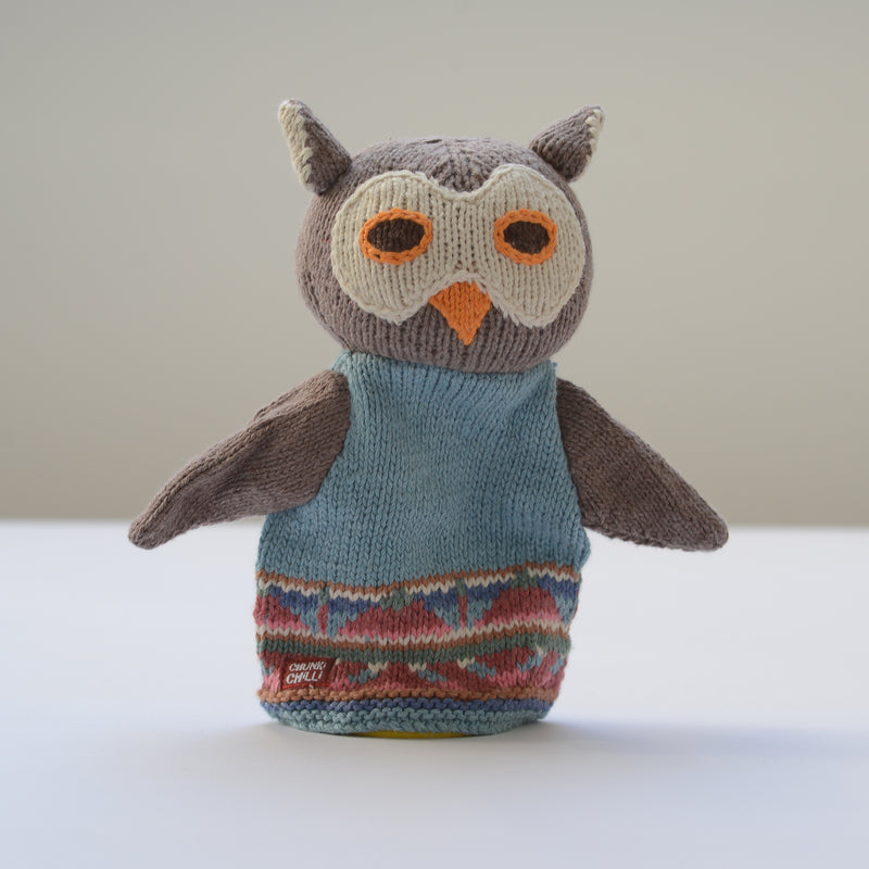 Chunki Chilli Blue Owl Hand Puppet in Organic Cotton
